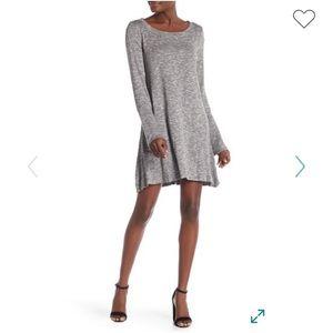 LOVE FIRE Bell Sleeve Heather Grey Knit Dress